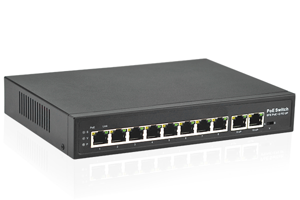 10 Port 10/100Mbps Switch with 8 Port PoE+